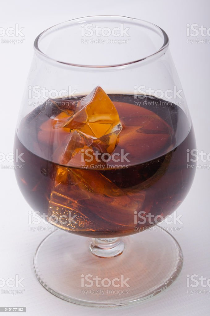 whisky of a stake and ice stock photo