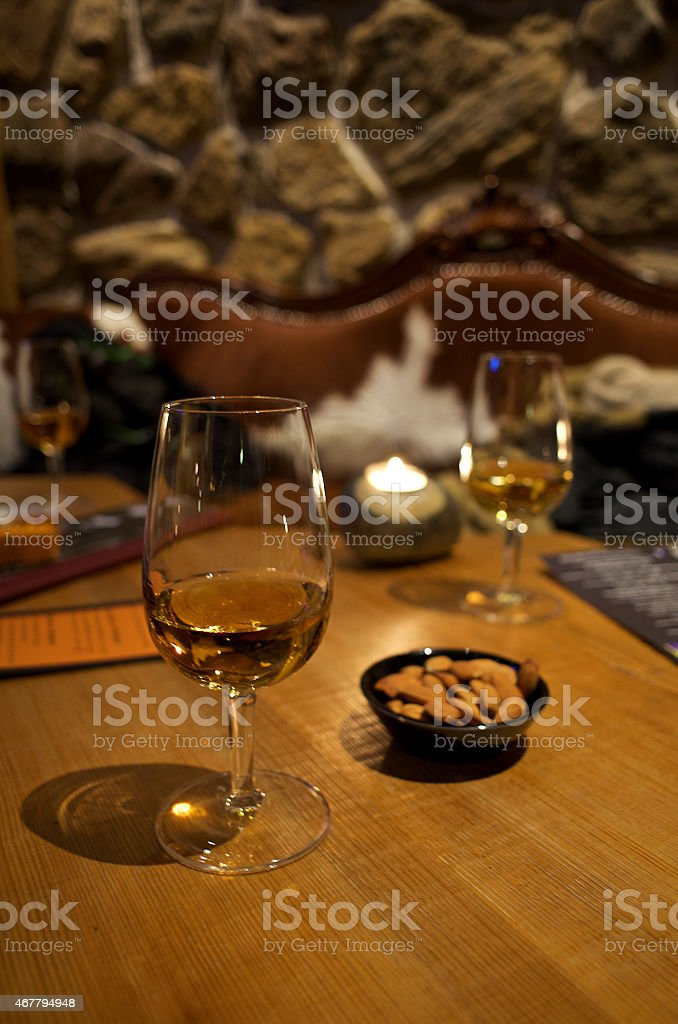 Whisky on a table stock photo