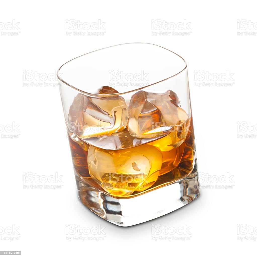 Whisky with Ice Cubes stock photo
