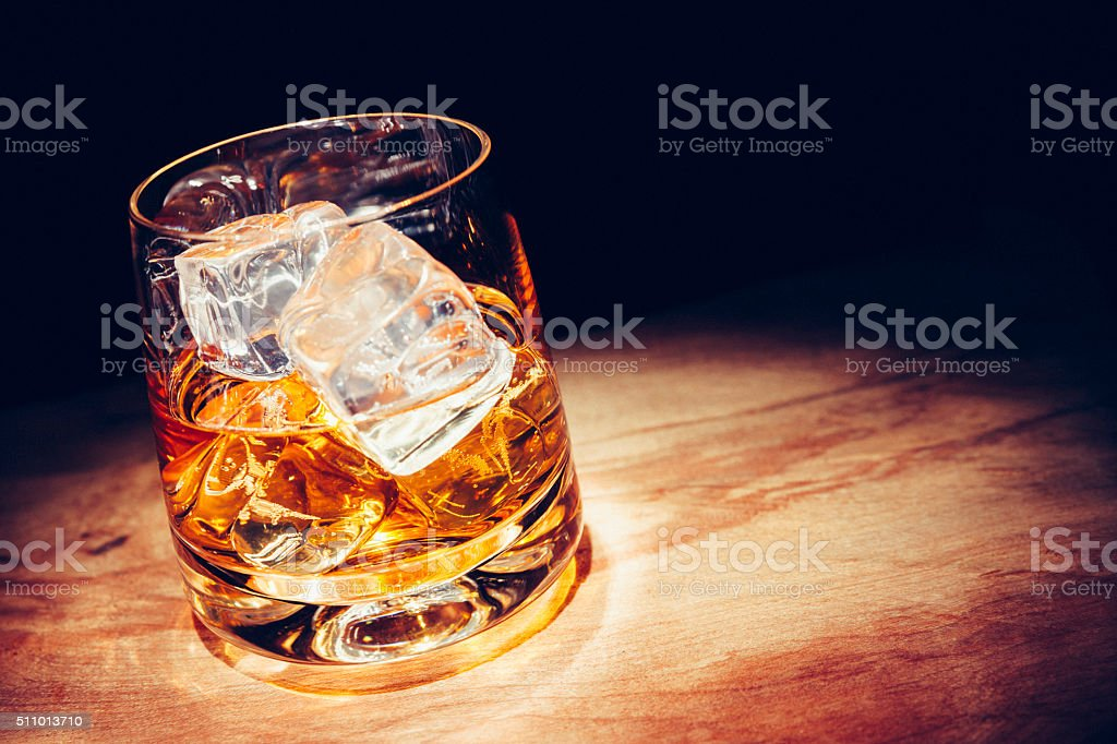 Whisky with ice stock photo
