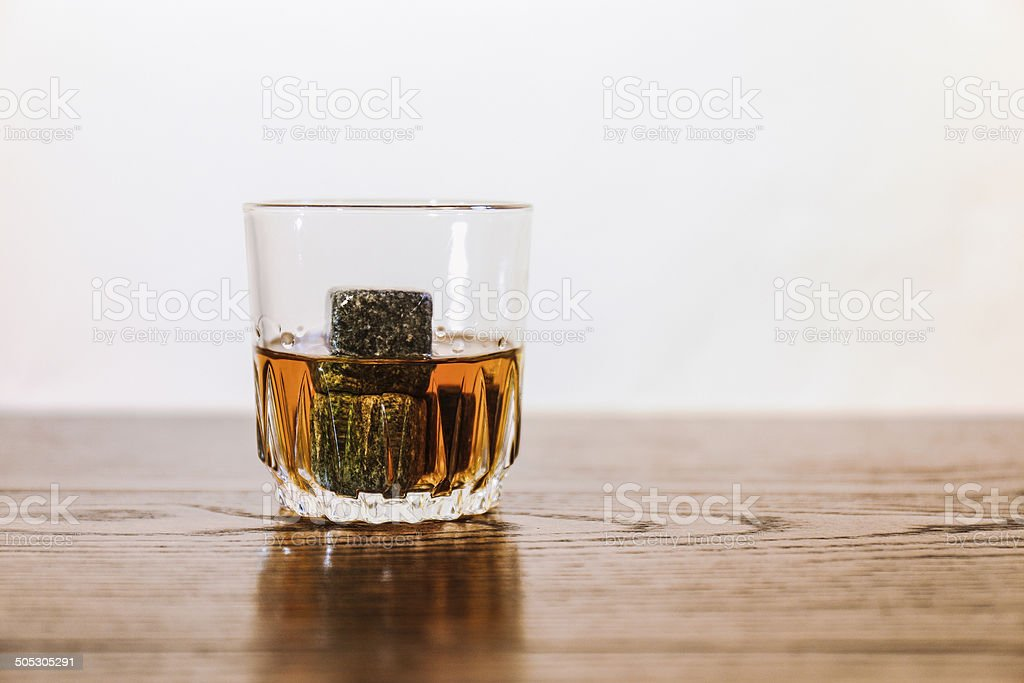 Whisky with stones stock photo