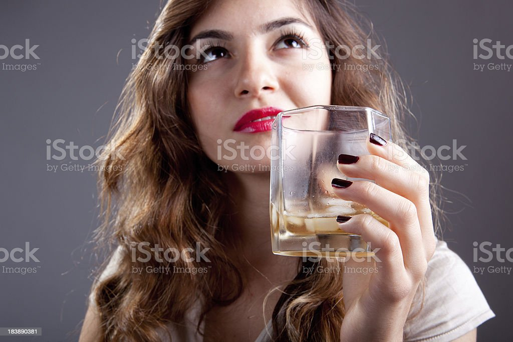 whisky with young women royalty-free stock photo