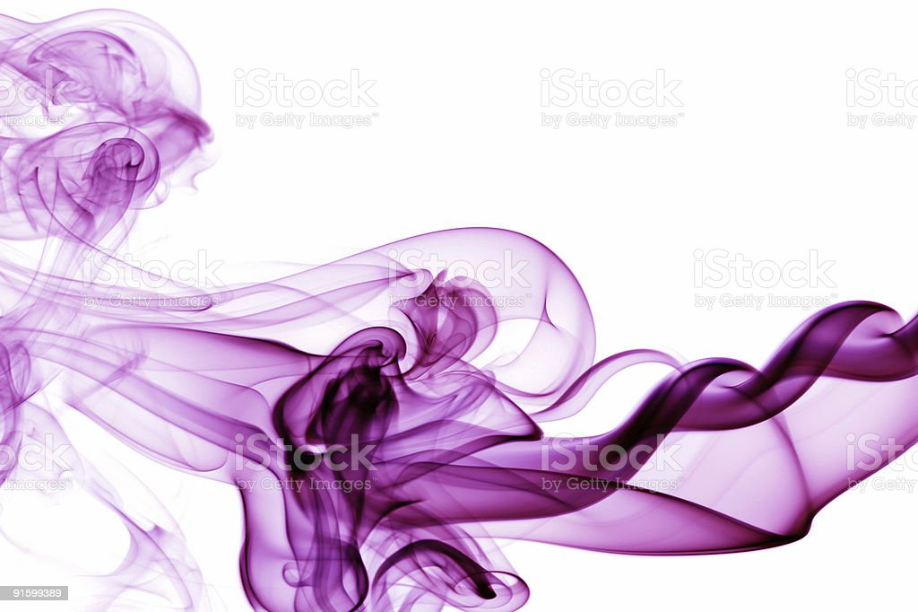Whispy purple smoke on a white background stock photo