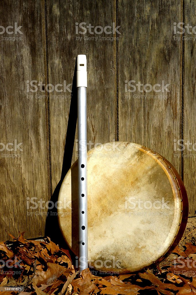 Whistle and Bodhran stock photo