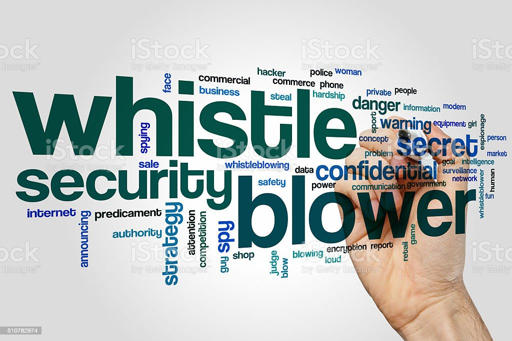 Whistle blower word cloud concept stock photo
