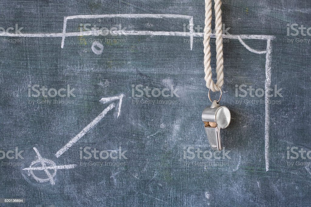 whistle of a soccer or football referee or trainer, stock photo