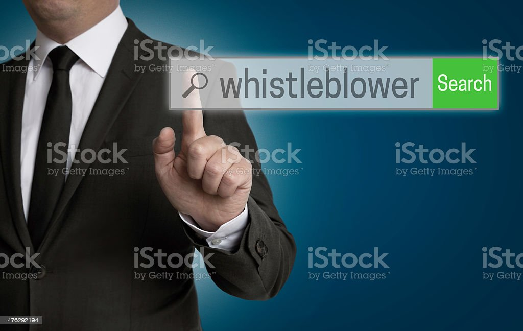 whistleblower internet browser is served by businessman stock photo