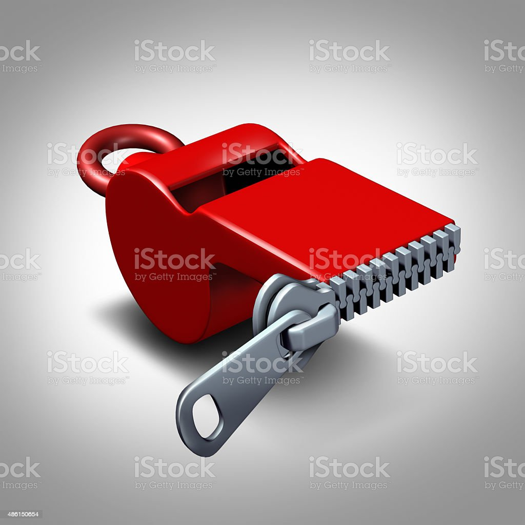 Whistleblower Silence stock photo