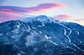 Whistler mountain at dusk.