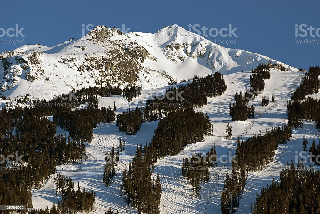 Whistler Mountain covered by snow stock photo