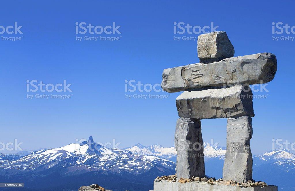 Whistler mountain sculpture in inukshuk  stock photo