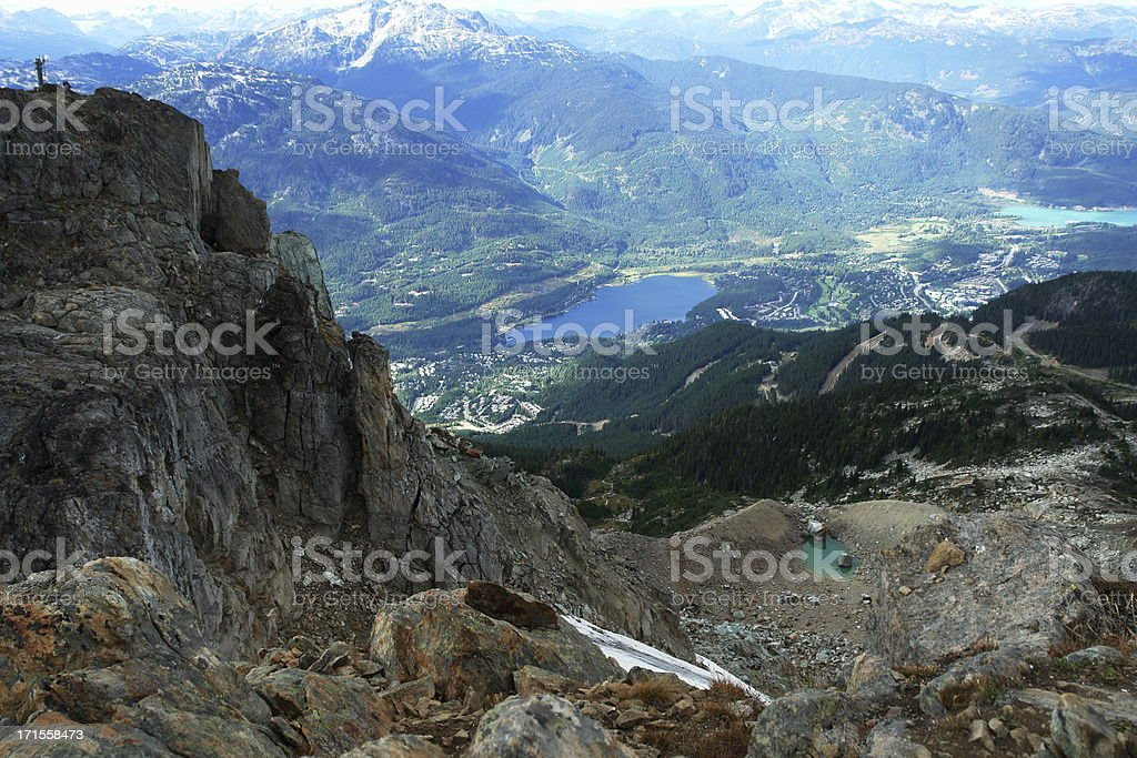 Whistler Village From Mountain Top stock photo