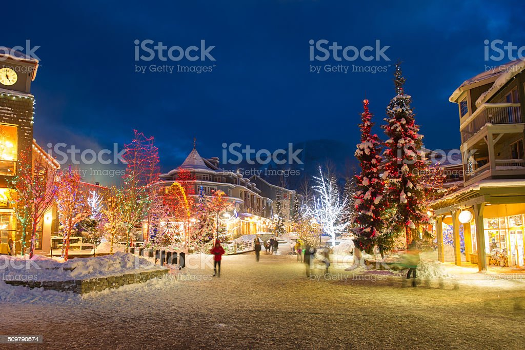 Whistler Village in winter stock photo