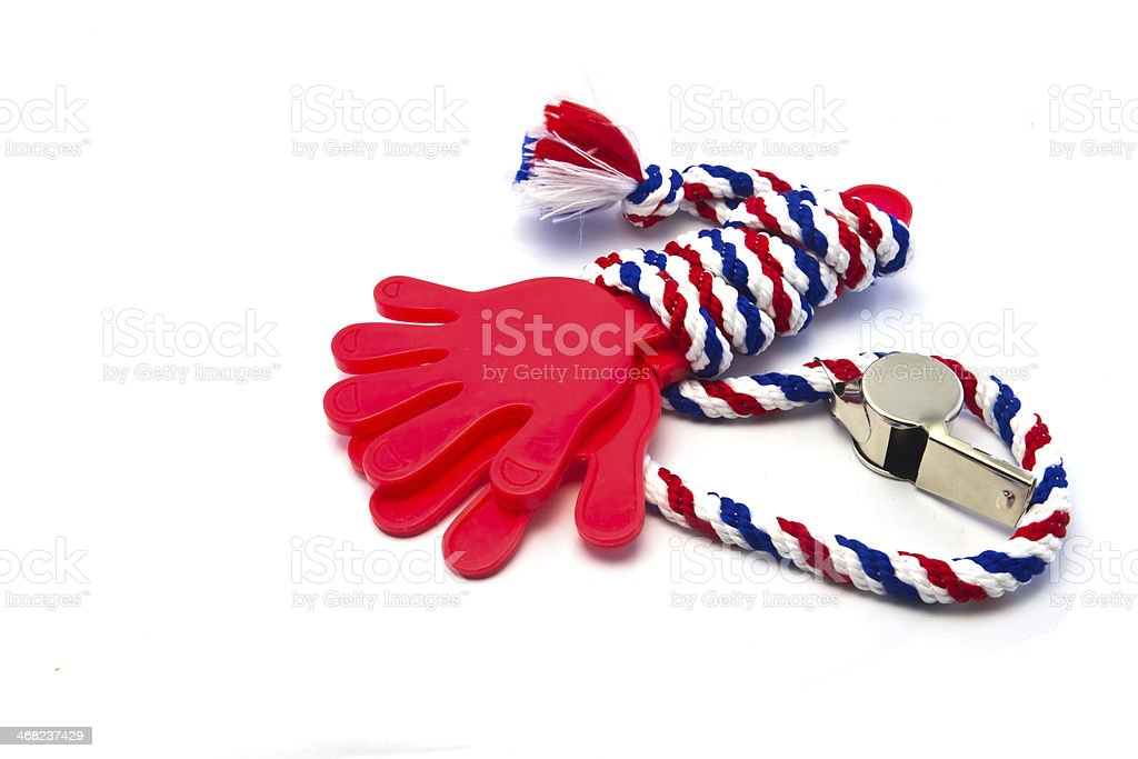 Whistle-striped flag of Thailand with red hand plastic. stock photo