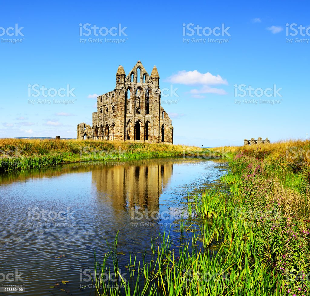 Whitby Abbey and pond, North Yorkshire stock photo