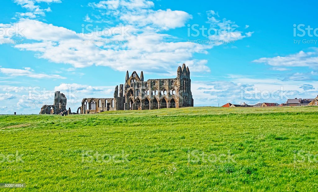 Whitby Abbey in North Yorkshire in England stock photo