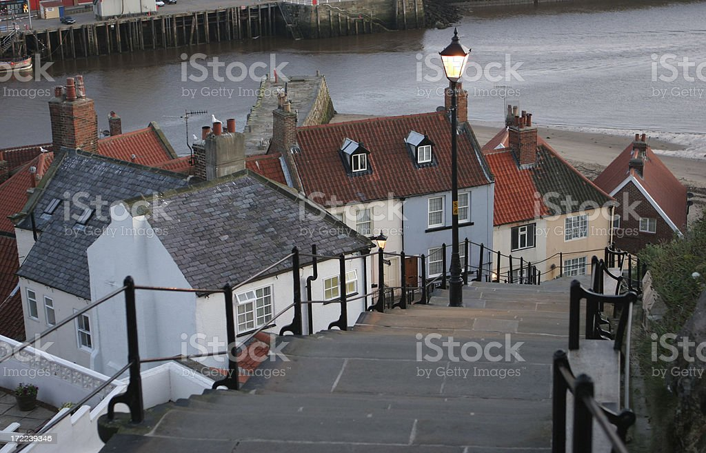 Whitby Bay Harbour Steps at Sunrise stock photo