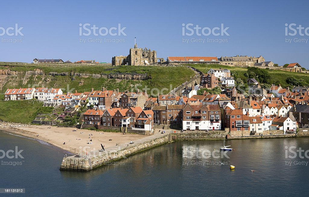 Whitby harbour waterfront buildings on the coast of North Yorkshire royalty-free stock photo