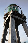 Whitby harbour west cliff pier green beacon wooden structure for