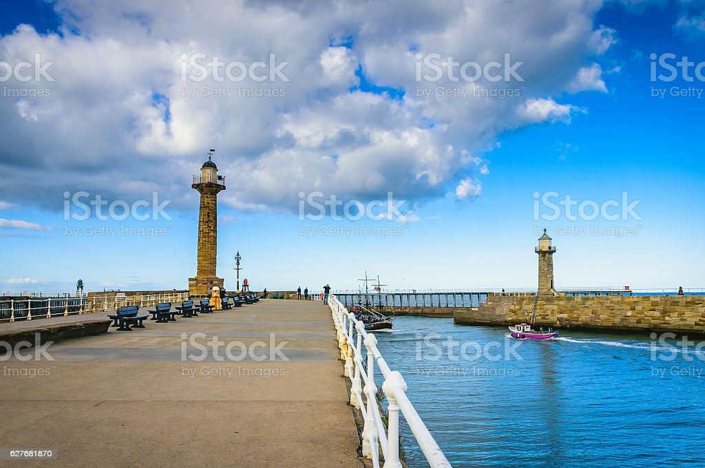 Whitby pier at the harbor entrance at Whitby stock photo