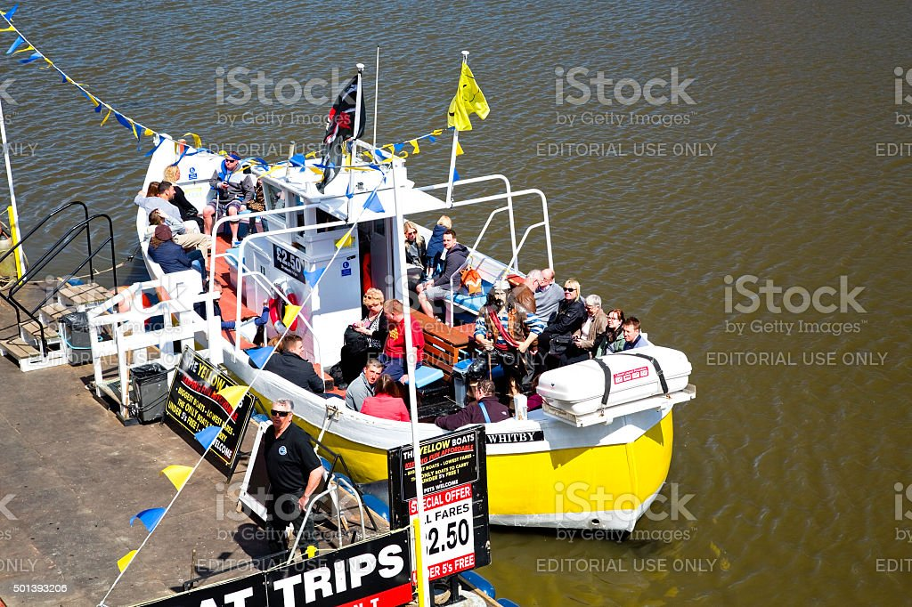 Whitby pleasure boat with passengers royalty-free stock photo