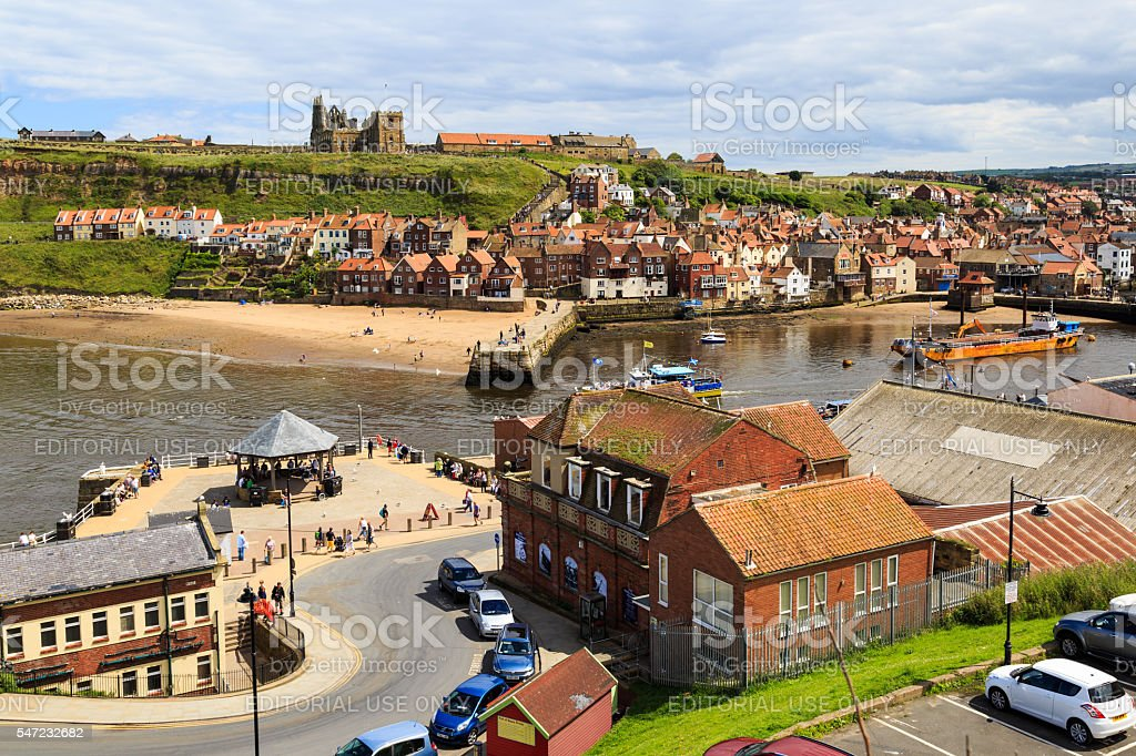 Whitby, showing the Abbey and town. stock photo