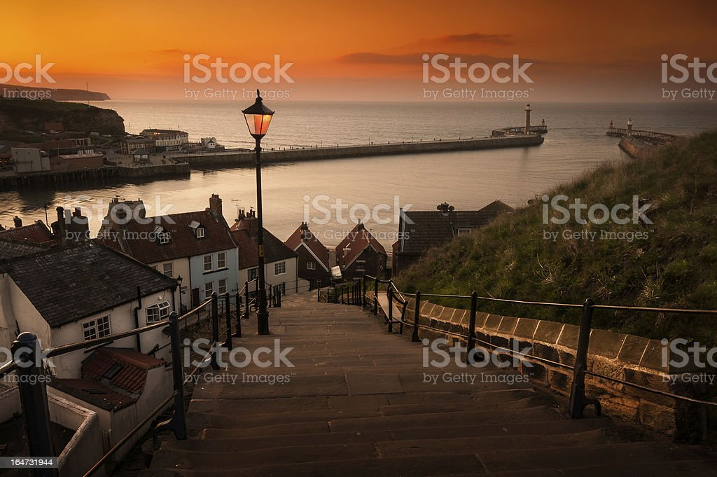 Whitby Steps at Sunset stock photo