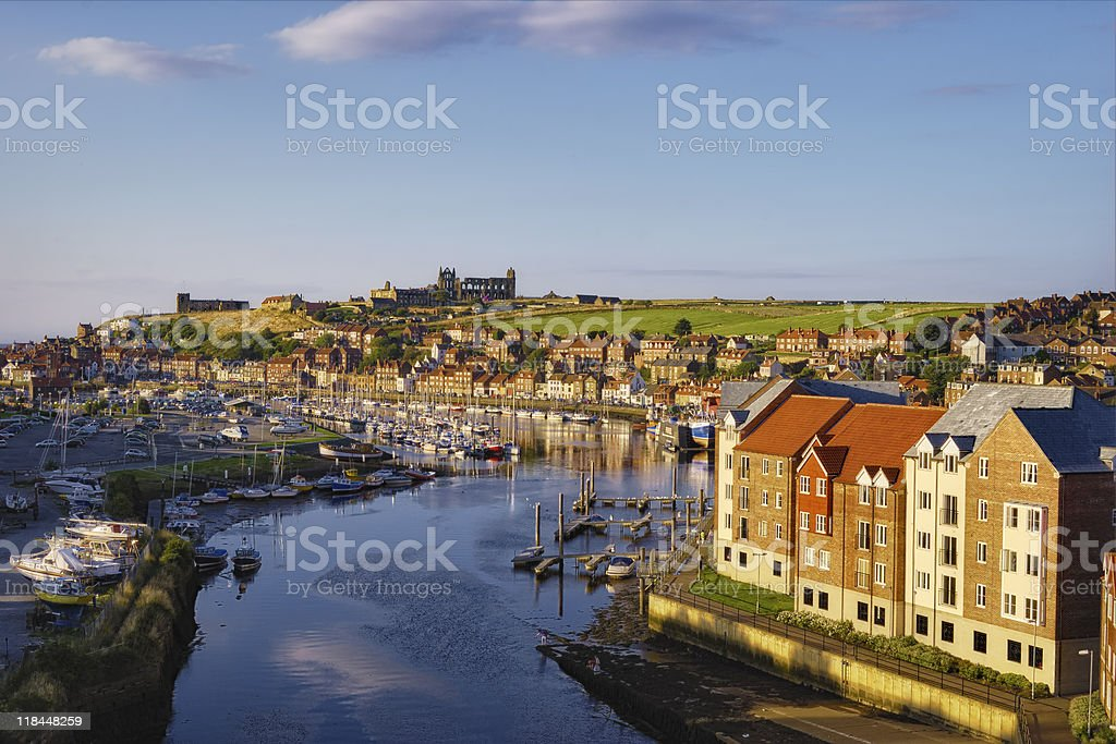 Whitby town and river Esk stock photo