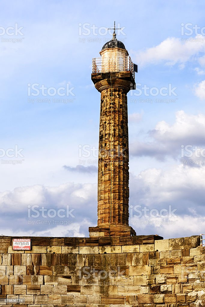 Whitby West Breakwater Light, North Yorkshire stock photo