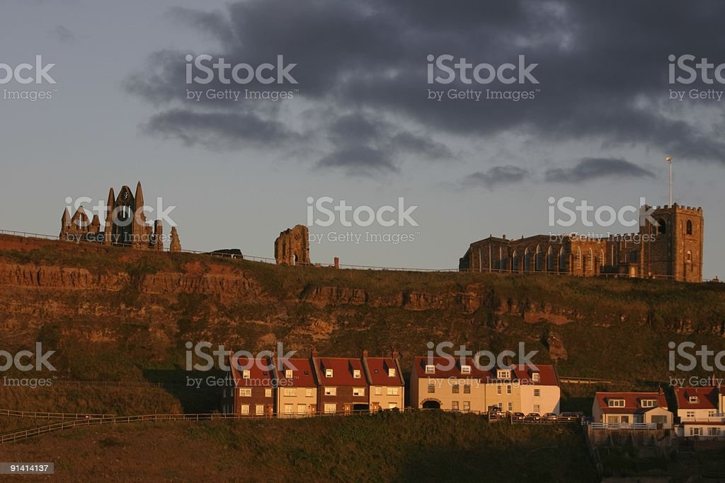 Whitby, Yorkshire dracula abbey and town royalty-free stock photo