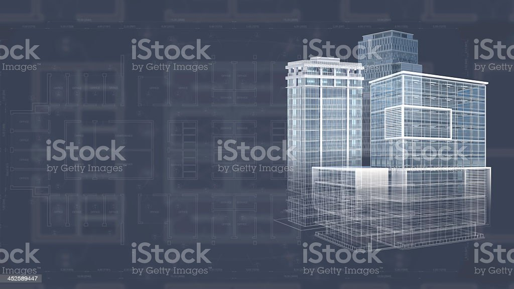 White 3D blueprint of an architecture project stock photo