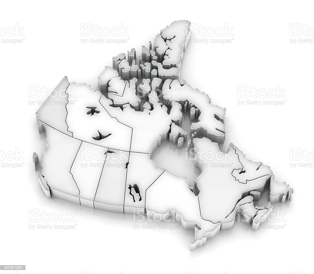 White 3D Canada map with states on white background stock photo
