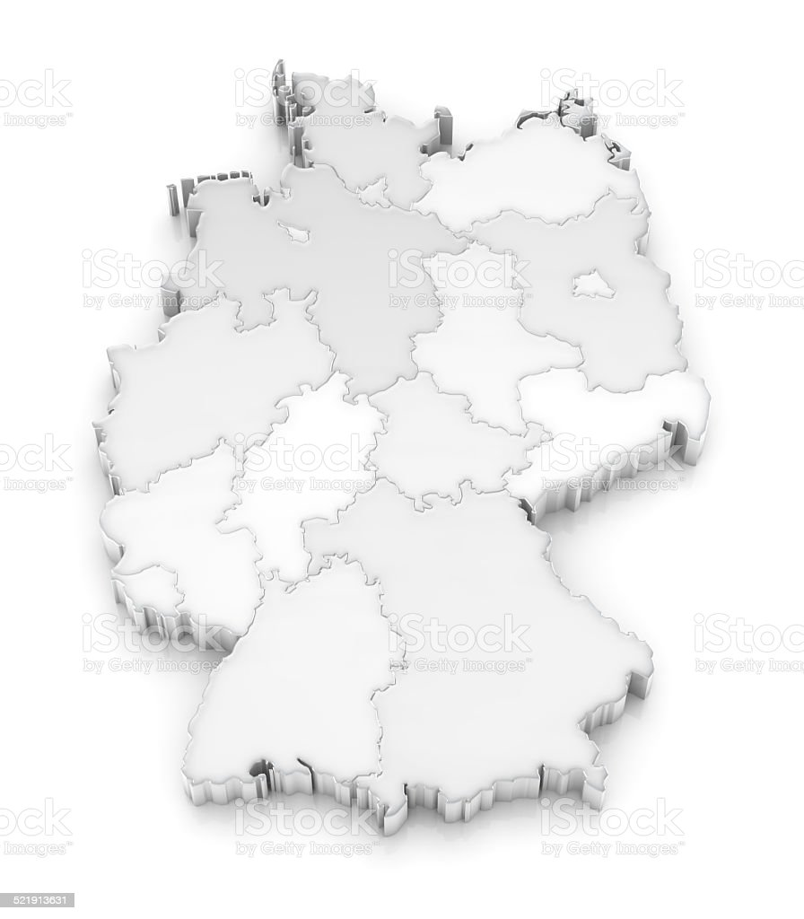 White 3D Germany map with states on white background stock photo