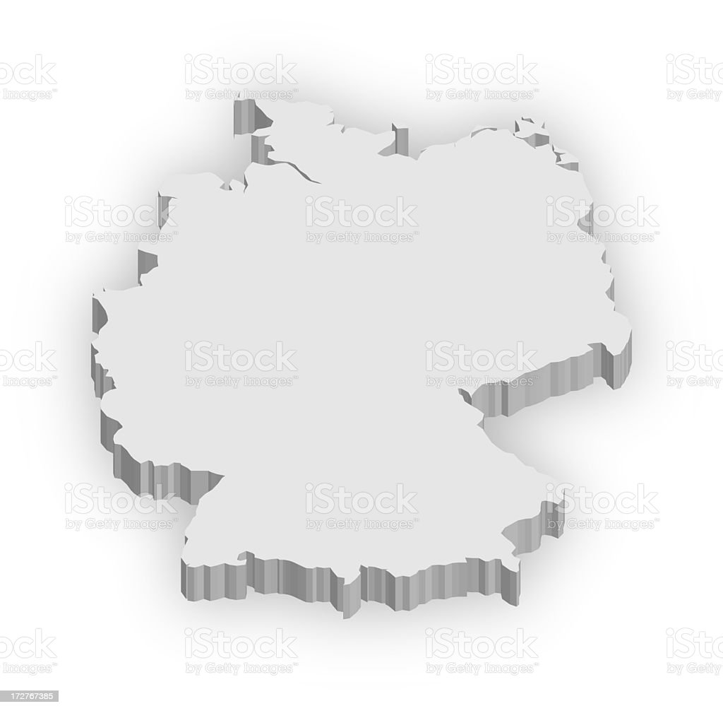 White 3D graphic of Germany isolated on white background stock photo