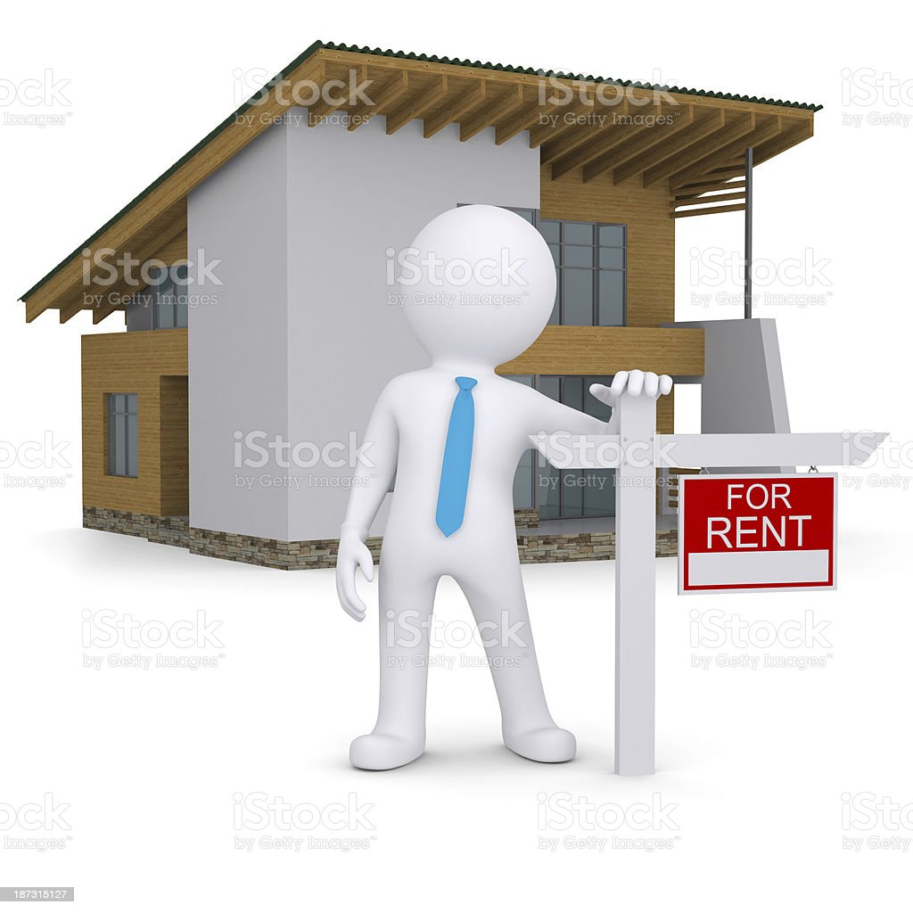White 3d human and small house with sign a lease royalty-free stock photo