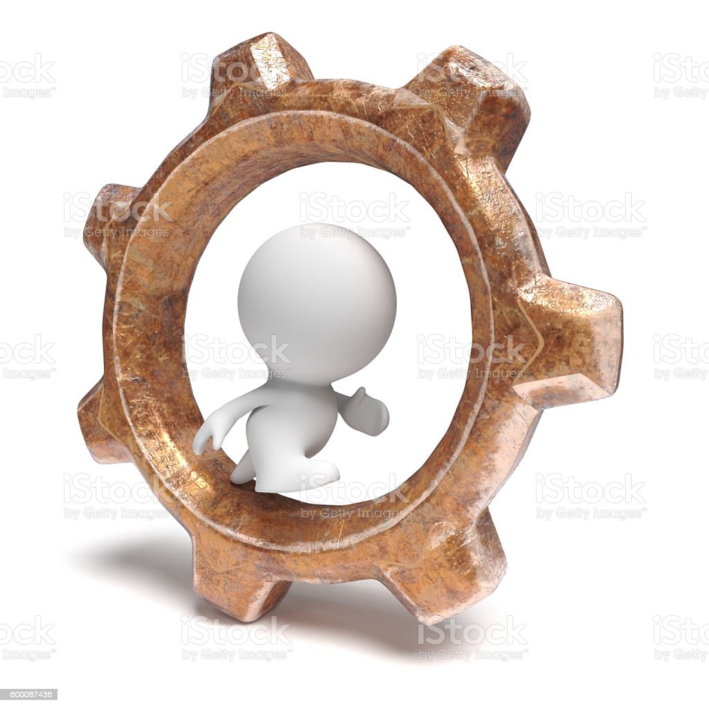 white 3d human character running in a gear-wheel stock photo
