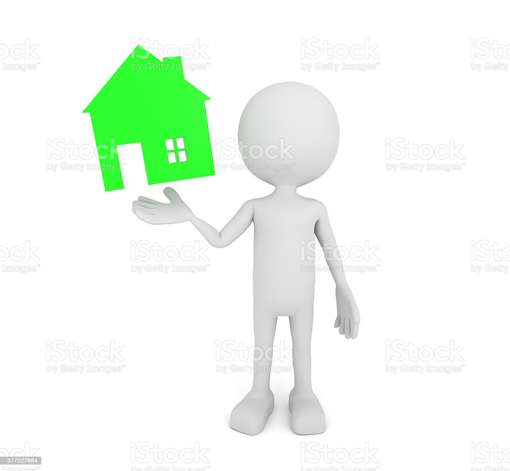 White 3d human presents green house symbol stock photo