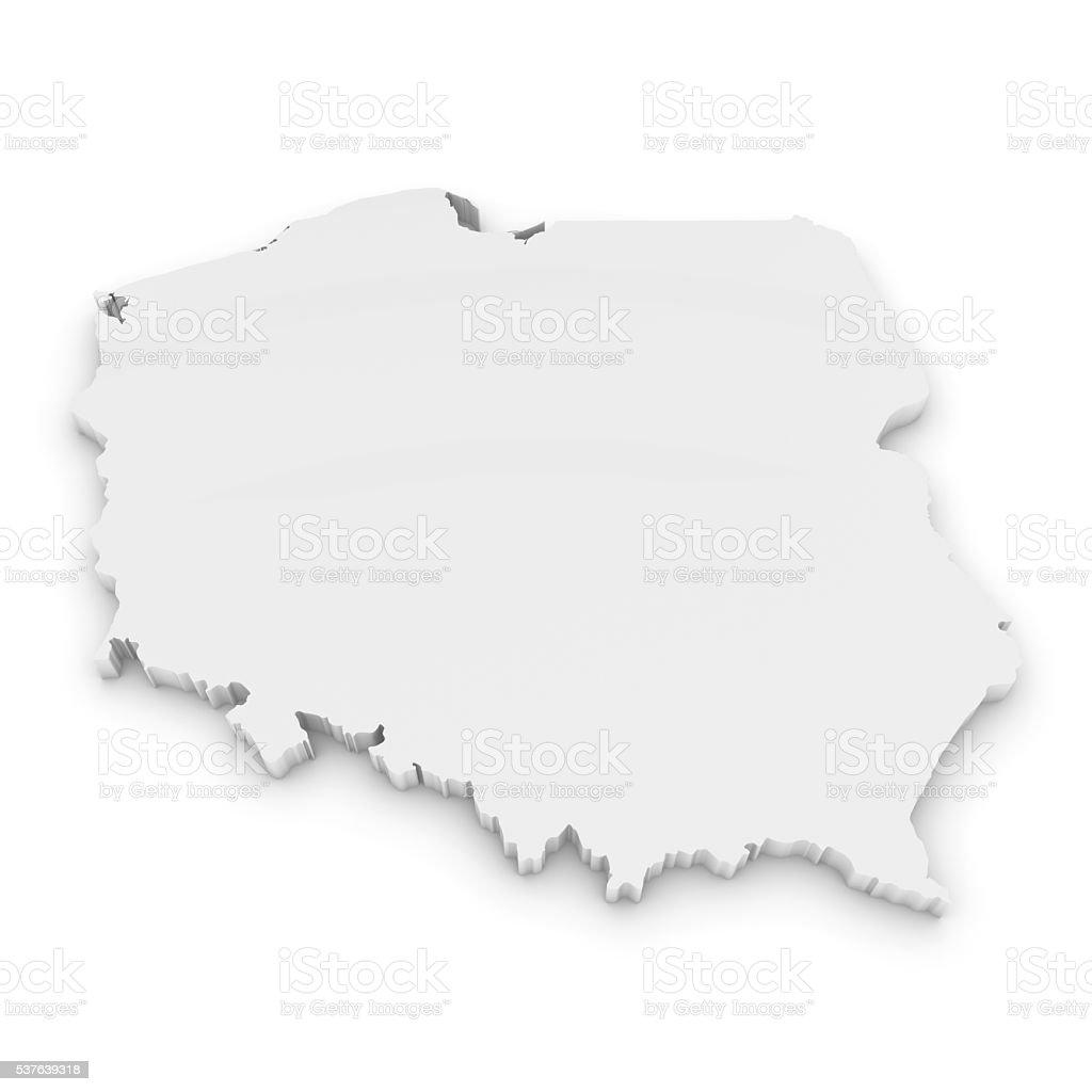 White 3D Illustration Map Outline of Poland Isolated on White stock photo