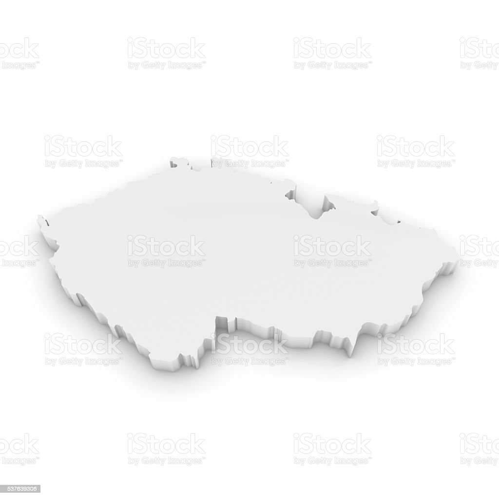 White 3D Illustration Map Outline of the Czech Republic Isolated stock photo