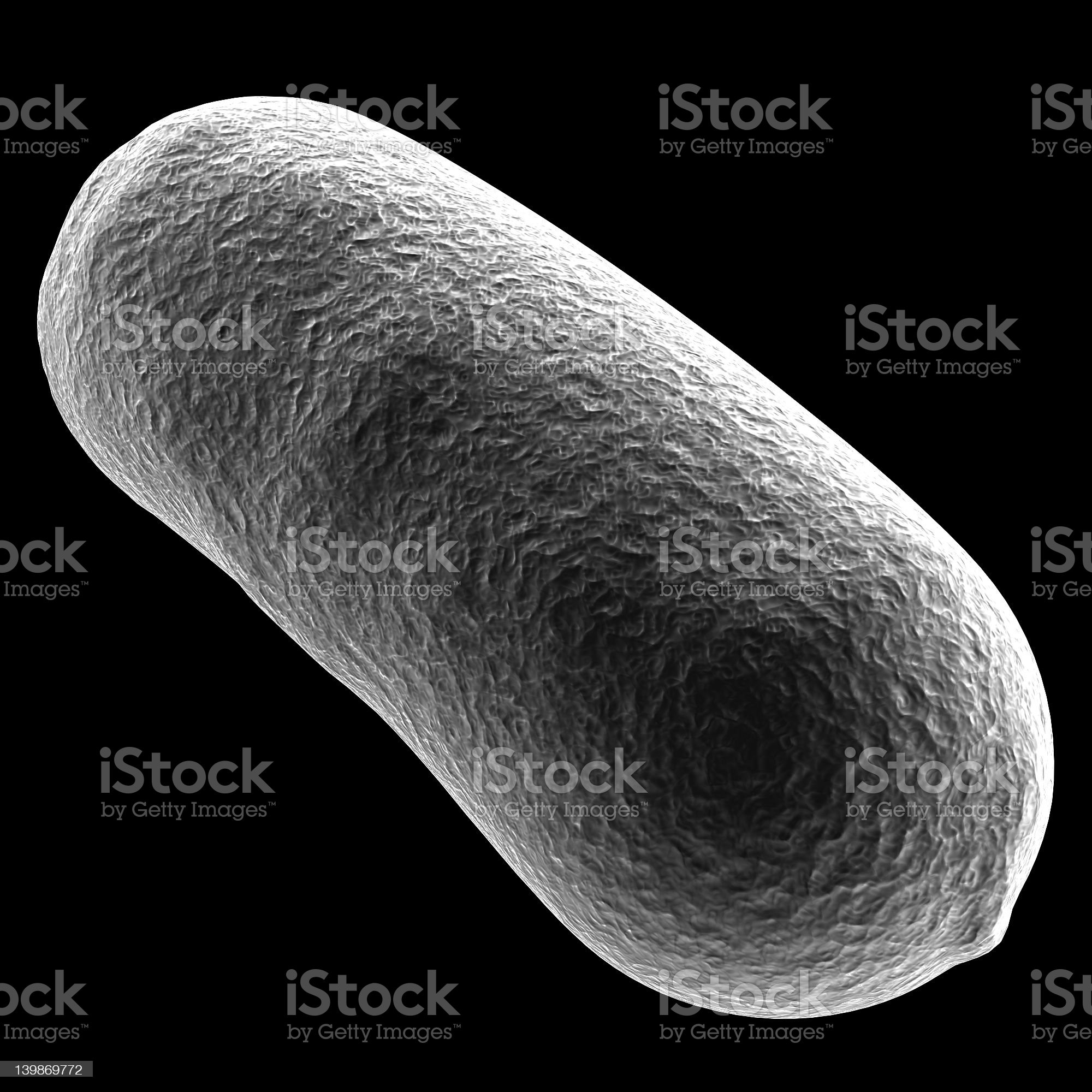 White 3D illustration of Bacillus bacteria against black royalty-free stock photo
