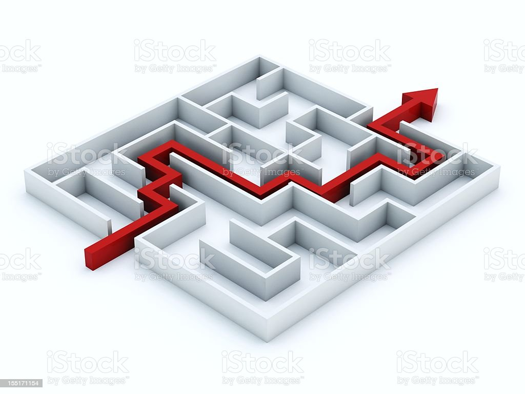 A white 3D labyrinth with a red arrow showing where to go royalty-free stock photo