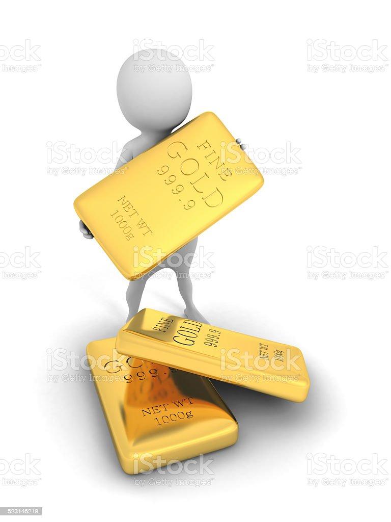 white 3d man holding a gold bar bullion stock photo