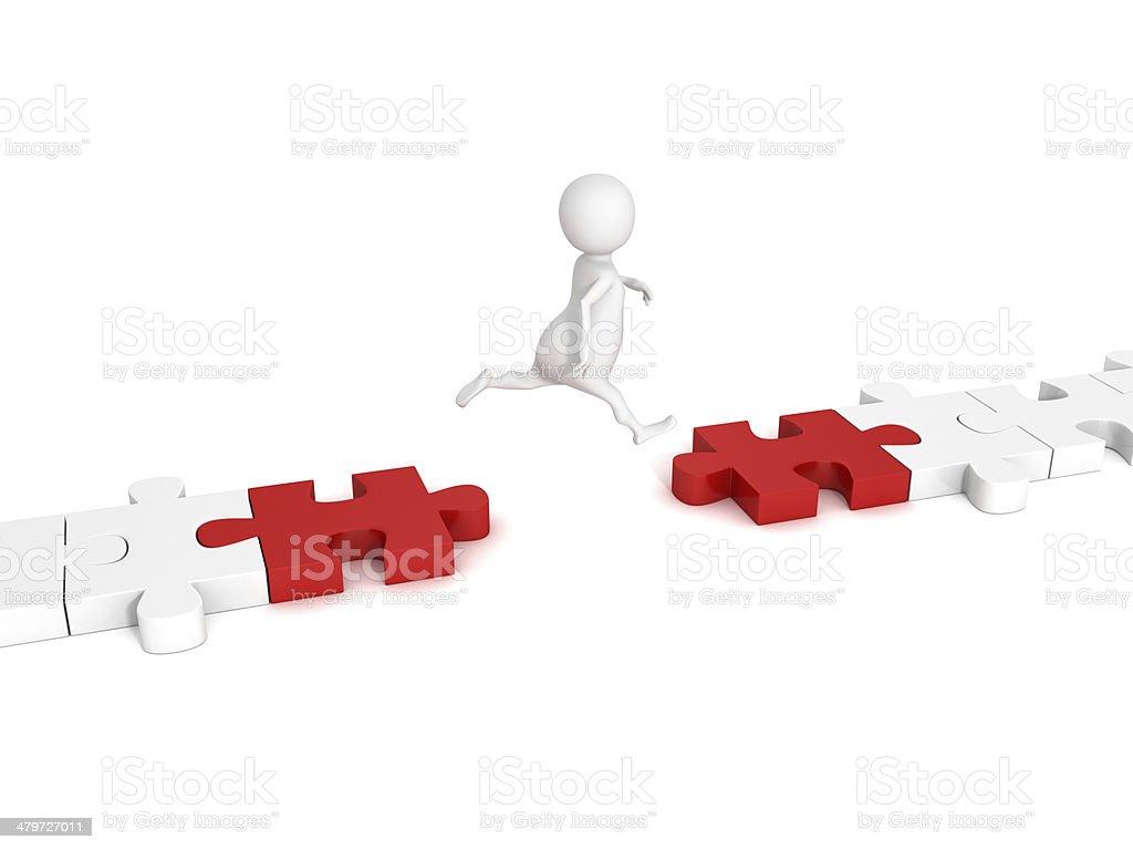 white 3d man jump over puzzle bridge stock photo