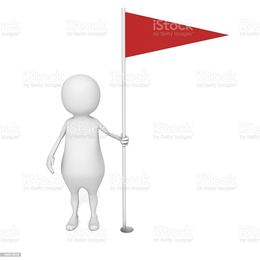 white 3d man person with red success golf flag stock photo