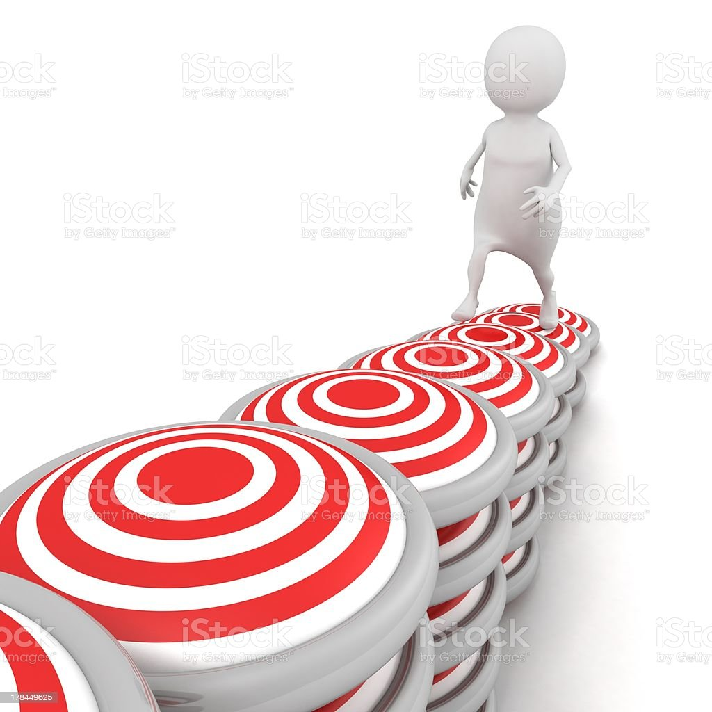 white 3d man steps up on target ladder stairs royalty-free stock photo