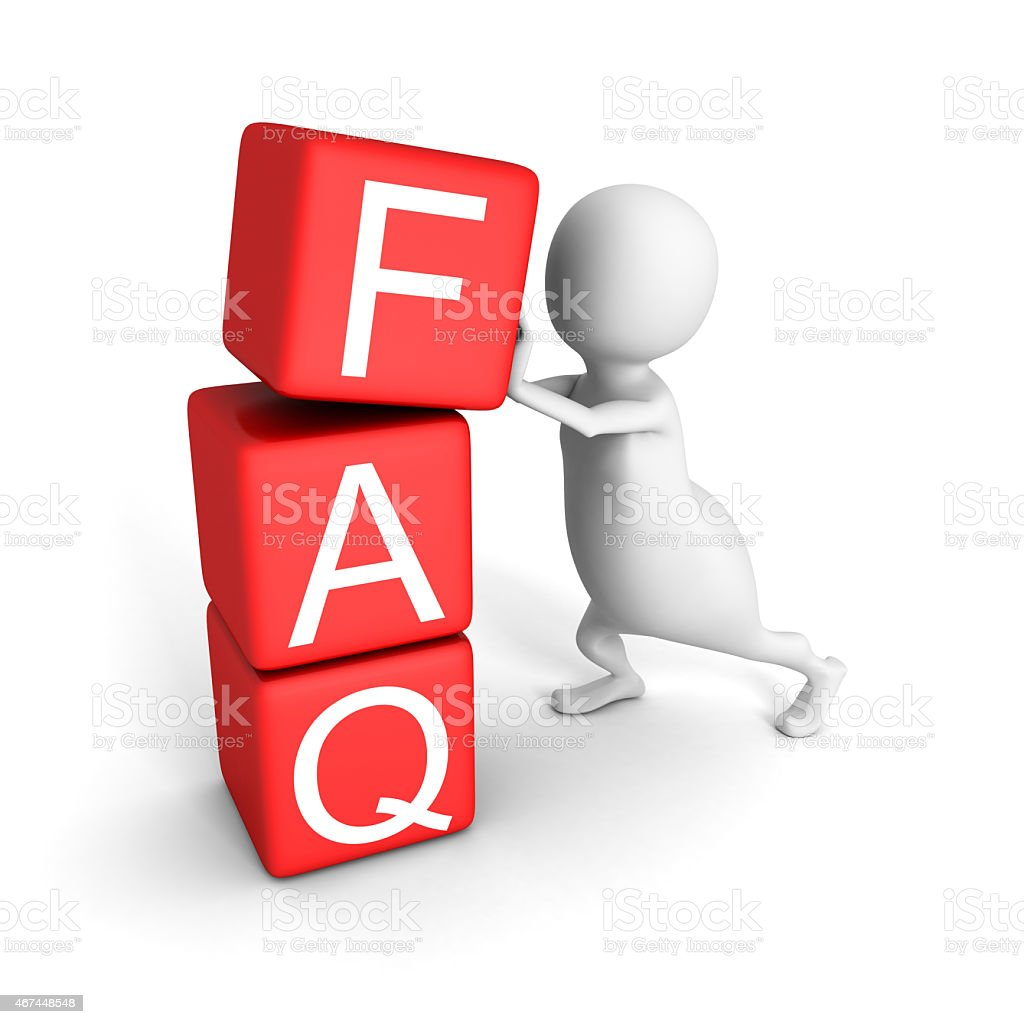 White 3d Man With Red Blocks FAQ Word stock photo