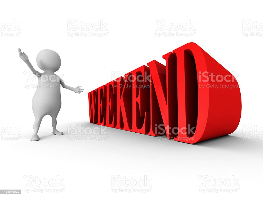 white 3d man with red WEEKEND text word stock photo