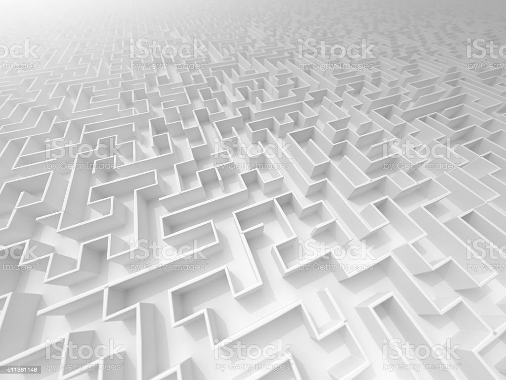 white 3D Maze perspektive with fog and DOF stock photo
