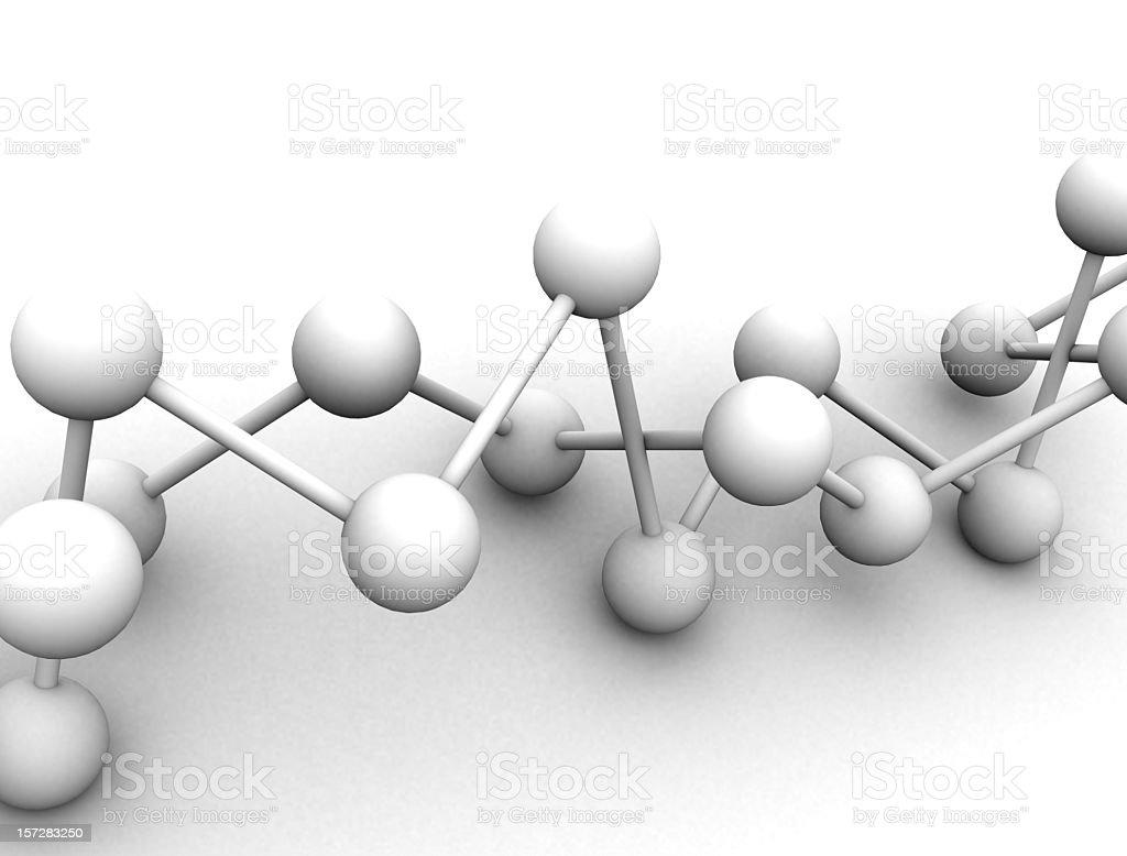 White 3D molecule on white background royalty-free stock photo