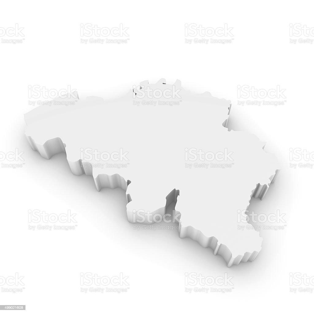 White 3D Outline of Belgium Isolated on White stock photo